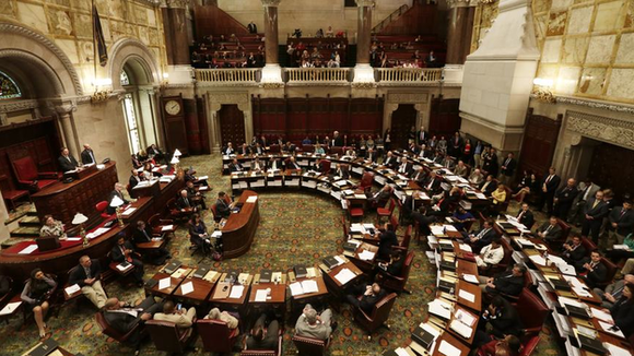 The New York State Senate chamber at the Capitol in Albany.