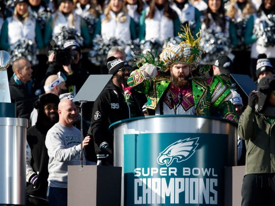 Philadelphia Eagles center Jason Kelce speaks in front of the Philadelphia Museum of Art after a Super Bowl victory parade for the Philadelphia Eagles football team, Thursday, Feb. 8, 2018, in Philadelphia. The Eagles beat the New England Patriots 41-33 in Super Bowl 52.