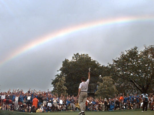 In a file photo from Aug. 16, 1997, a rainbow soars