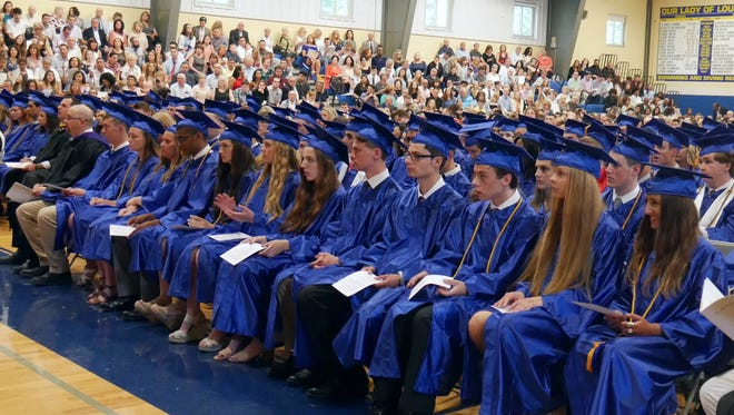 Our Lady of Lourdes High School class of 2018 waits for graduation to begin on June 2, 2018. The private Catholic school is located in the Town of Poughkeepsie.
