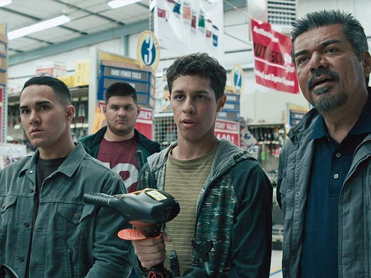 "David Del Rio (from left), Carlos PenaVega and George Lopez star in ""Spare Parts"" (2015)."