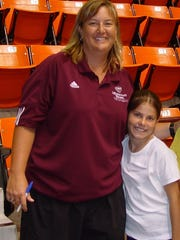Bears head coach Melissa Stokes and a young Brianne