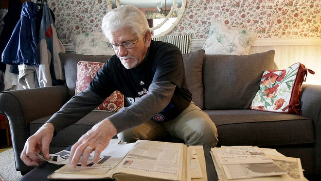 Chicago Cubs fans Joe Bailey talks about and shows off the historical memorabilia collection created by his uncle over 70 years ago. Historical photos, newspaper clippings, letters and homemade scorecards are among the collection that Bailey hopes to give to one of his grandchildren in the future.