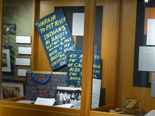 An exhibit at the Wintu Cultural Museum on Shasta Dam
