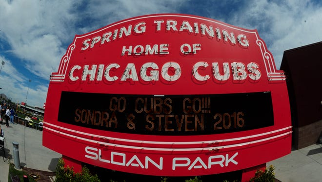Sloan Park on March 5, 2016, prior to the game between the Chicago Cubs and the Cincinnati Reds.