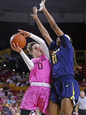 Katie Hempen, left, and the ASU women's basketball team are up two spots to a season-high No. 10 in the Associated Press top 25.
