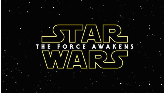 "A screenshot of the ""Star Wars: The Force Awakens"" logo."