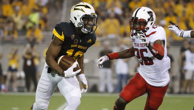 ASU wide receiver Tim White (12) didn't play after suffering an ankle injury from last week's win over Texas Tech on September 10, 2016.