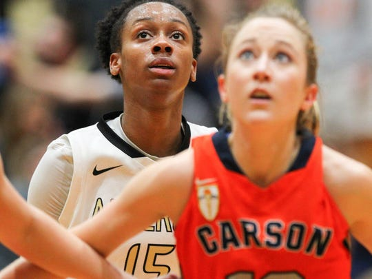 Anderson senior forward Jasmine Franklin (15) has averaged 17 points and eight rebounds during the Trojans' seven-game winning streak.