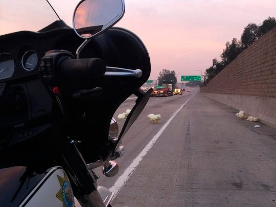 In this photo released by the California Highway Patrol,