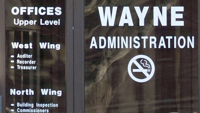 One of the exterior doors of the Wayne County Administration Building.