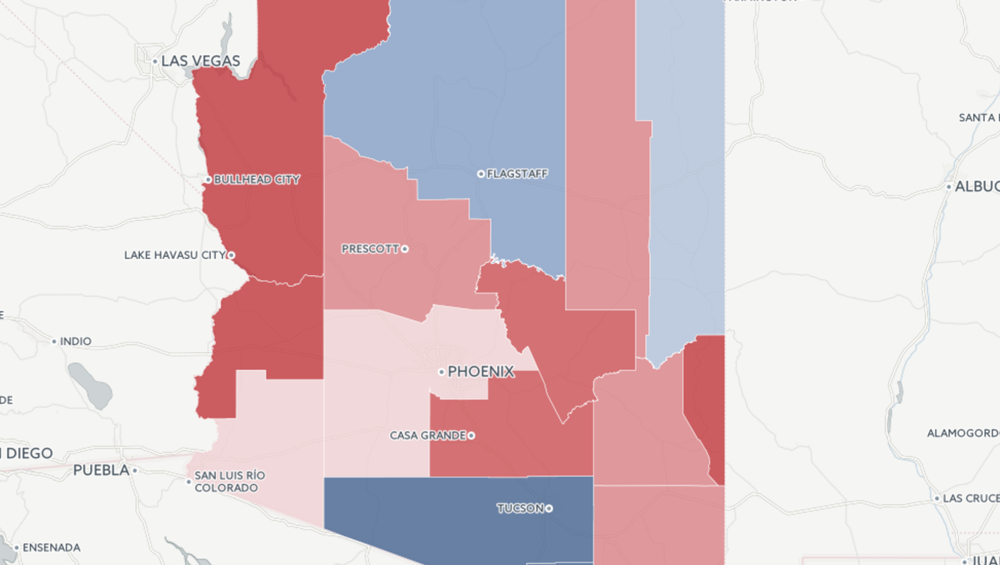 Arizona Picked Trump But By A Lot Less Than You Might Think - Arizona political map