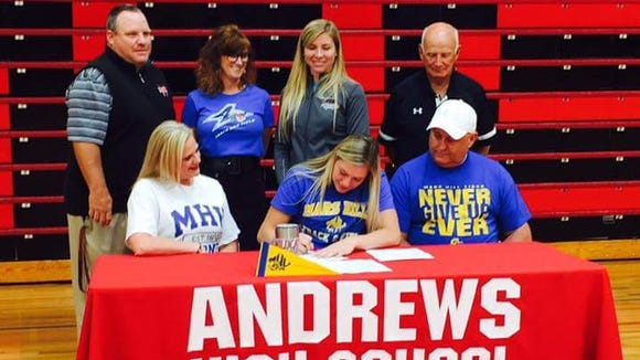 Andrews senior Tiffany Holloway has signed with the Mars Hill basketball and track programs.
