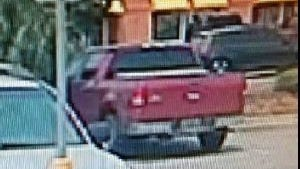 Pensacola police say this pickup truck was used during a strong armed robbery Monday, May 14, 2018, outside a Bank of America in Pensacola.