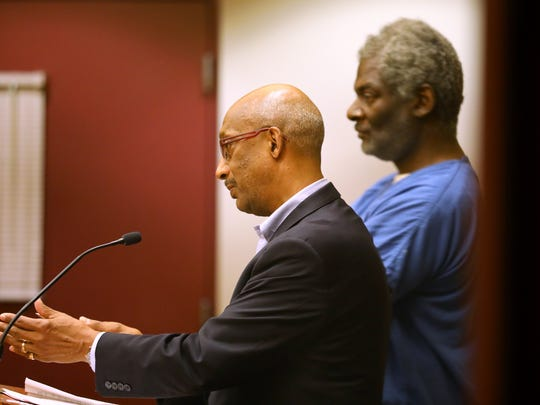 "Assistant state public defender Stanley Woodard represents Ezekiel Golden Jr. as bail is set during initial appearance court at the Dane County Public Safety Building on May 25, 2018. Later that same day, Woodard argued successfully for another client, Eddie Armstrong, to be given a ""second chance"" and released on a signature bond instead of being assigned cash bail."