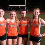 From left to right: Brighton's Maddie Brown, Maggie Samanich, Cassidy Newburg snd Erin Dowd set a new Brighton record in the 1,600 relay.