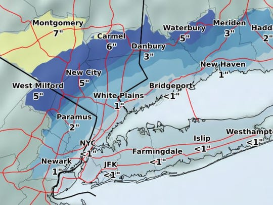 Expected snowfall totals for the Jan. 17, 2018, storm,