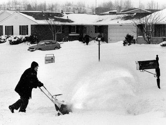 Blizzard of January 1978. Paul Johnson using mini snow