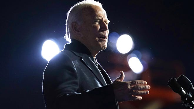 Democratic presidential candidate former Vice President Joe Biden speaks at a rally at Belle Isle Casino in Detroit, Mich., Saturday, Oct. 31, 2020, which former President Barack Obama also attended.