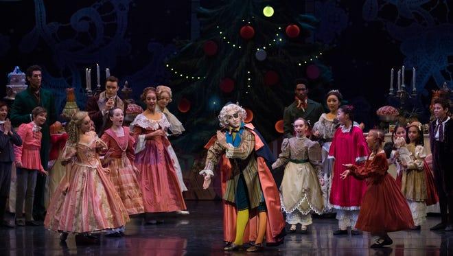 "Cincinnati Ballet in ""The Nutcracker"" at Kennedy Center.  Oğulcan Borova, center, is featured in the role of Herr Drosselmeyer."