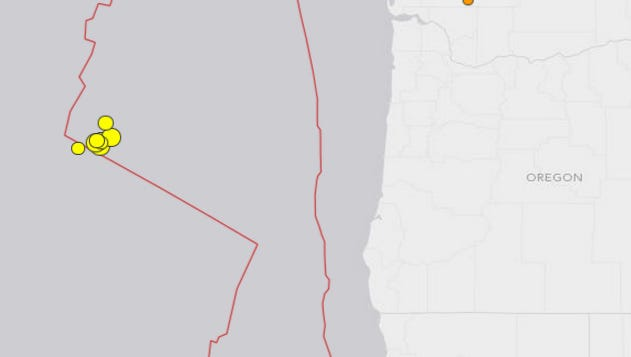 Recent earthquakes off the Oregon coast.