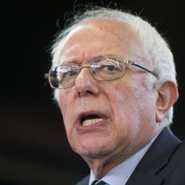 Democratic presidential candidate Sen. Bernie Sanders speaks during a campaign rally at Delaware County Fairgrounds on Jan. 30 in Manchester, Iowa.