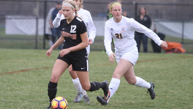 Brooke Pietila (12) scored one of Brighton's goals in a 3-0 victory over Howell.