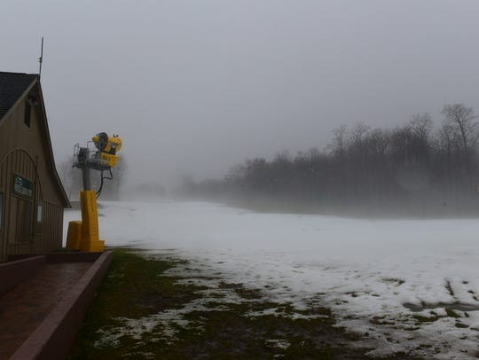 Snow making equipment awaits colder weather at Whitetail