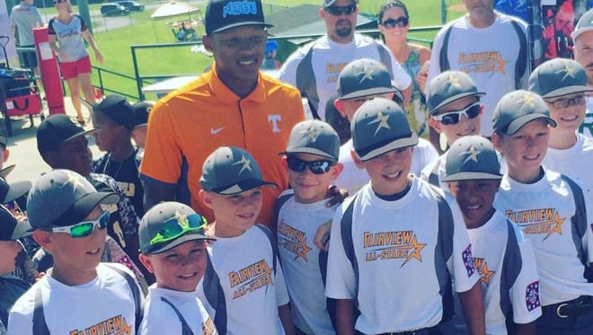 The Fairview 10U All-Stars enjoy opening ceremonies July 14 including the chance to meet University of Tennessee quarterback Joshua Dobbs.