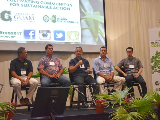From left: David Tydingco, managing director of Valley of the Latte Adventure Park; Alupang Beach Club President Steve Kasperbauer; Fred Schumann, University of Guam School of Business and Public Administration professor; Jeff Schindler, general manager of Underwater World; and Guam Visitors Bureau CEO Nate Denight speak at UOG's Island Sustainability Conference at Hyatt Regency Guam on April 19, 2017.