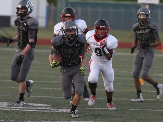 Grape Creek running back Austin Ortegon breaks into