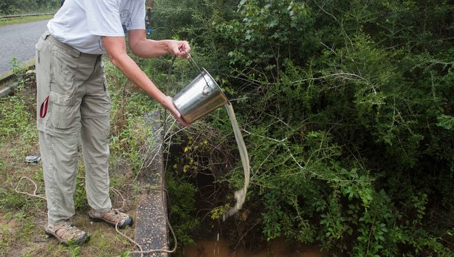 Barbara Albrecht, director of the Panhandle Watershed Alliance, takes water samples on Aug. 29, 2017, from Indian Bayou to measure the amount of red clay in the stormwater run-off.