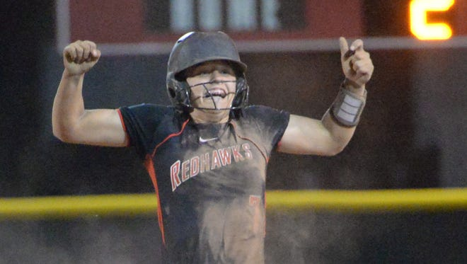 Stewarts Creek's Sidney Heath reacts to her ninth-inning double that scored two runs. Stewarts Creek beat Oakland 5-2.