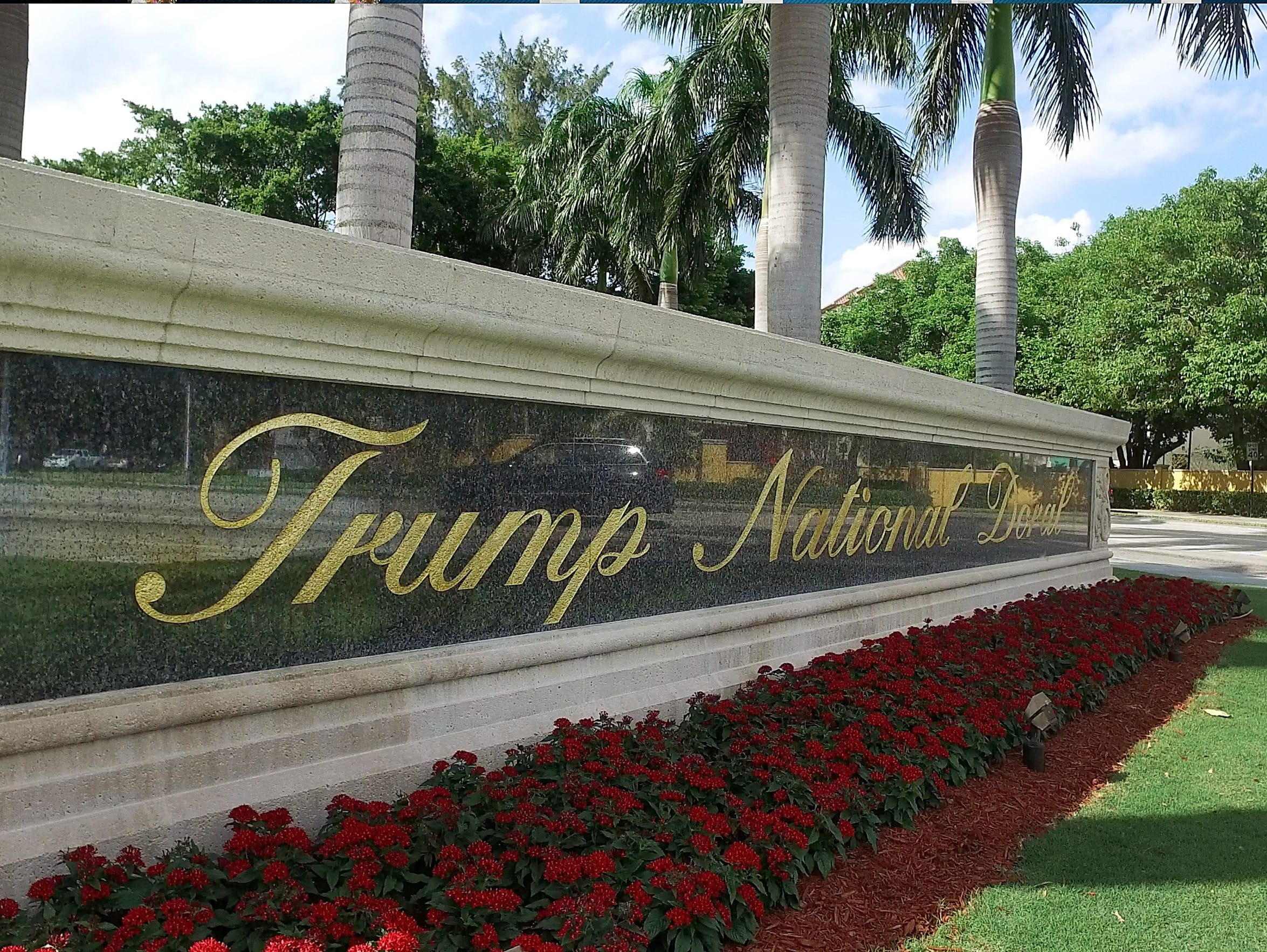 A view of the entrance sign at Trump National Doral