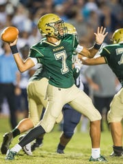 Acadiana quarterback Jaylon Borel (7) looks to connect