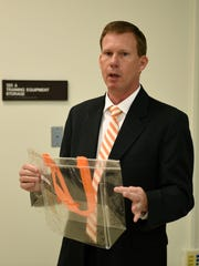 UT Associate Athletics Director for Event Management David Elliott announces changes in the gameday traffic patterns and times for Vol Walk Thursday, Aug. 31, 2017.