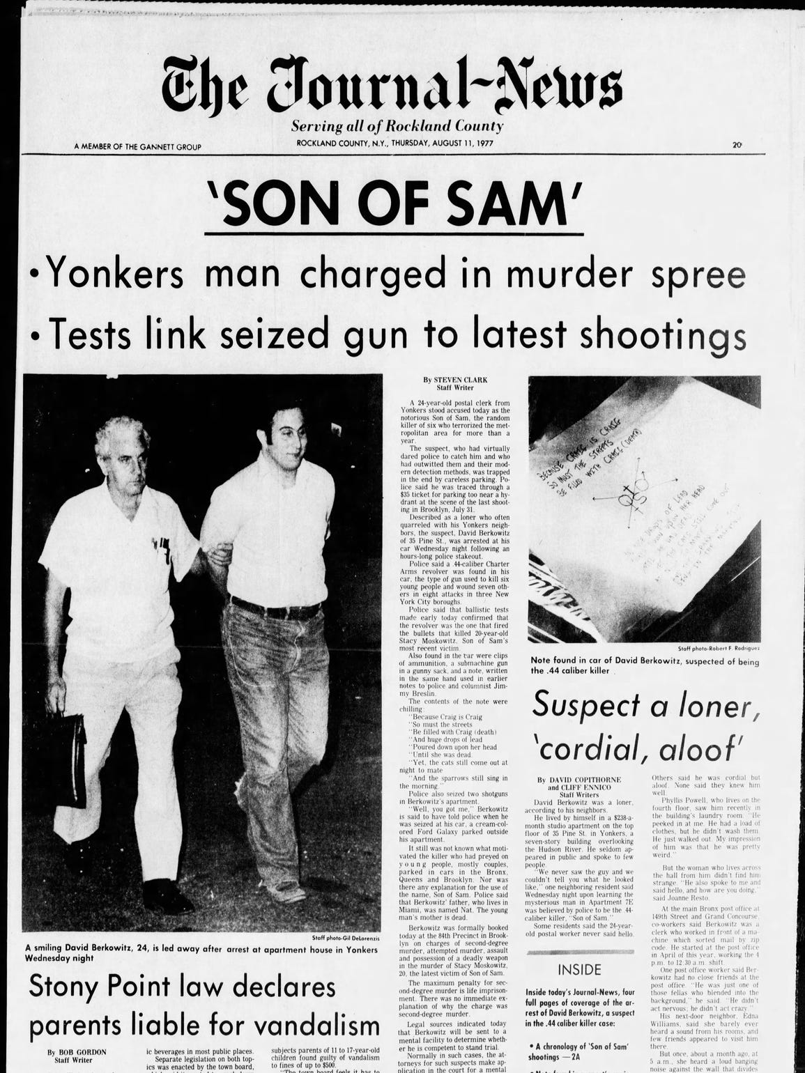 Son Of Sam Arrested In Yonkers 40 Years Ago