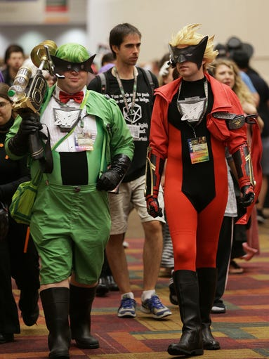 From left, Jesse Staub, dressed as Green Wonder, and