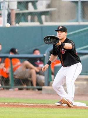 Delmarva Shorebirds first baseman Alex Murphy (32) watches in a throw against the Kannapolis Intimidators on Tuesday, June 14 at Arthur W Perdue Stadium in Salisbury.