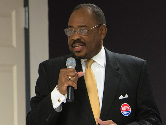 Dan Harris speaks during the Mayoral Forum on Thursday,