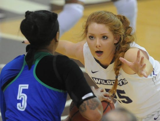 ACU's Lexi Kirgan, right, defends against Texas A&M-Corpus