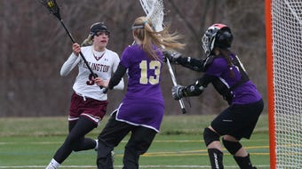 Arlington defeated Clarkstown North in girls lacrosse action at Arlington High School April 17, 2018.
