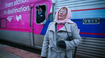 Amtrak attendant Pat Green has been working  for 32 years in Osceola. 365 days a year.