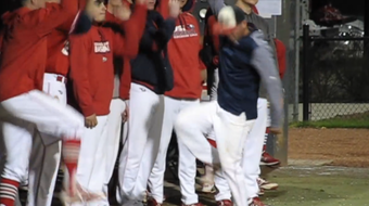 """USI baseball team """"raged"""" in the 8th inning during their meeting with Kentucky Wesleyan College. The Eagles defeated KWC 10-2. April 17, 2018."""