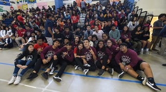 Okkodo High School classes compete in a dance battle during the school's fourth quarter pep rally on April 20, 2018.