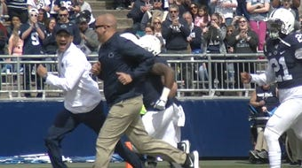 Actor Keegan-Michael Key returned to Penn State where he earned his Master of Fine Arts, turning into the real star of PSU's Blue-White Game in 2018.