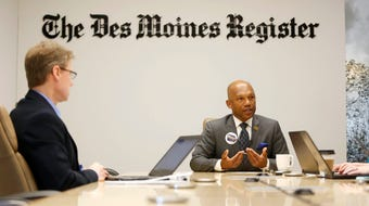 Democratic candidate for governor Ross Wilburn talks with members of the Des Moines Register editorial board.