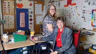 First-grade teacher Patty-Jo Smith Kegler and her mother Doris-Jane Smith, a permanent substitute, talk about working together at Primrose School in Somers April 25, 2018.