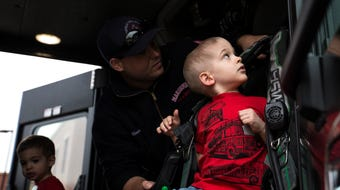 Lincoln Schrock, a three-year-old boy with cancer, got to meet his heroes, the Marshfield firefighters, and become one of them for a day, May 3, 2018.