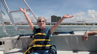 """Helen Bass celebrated her 94th birthday by parasailing on Fort Myers Beach in Florida. Hear her yell """"woo-hoo"""" and """"yippee"""" as she fearlessly soars up to 400 feet."""